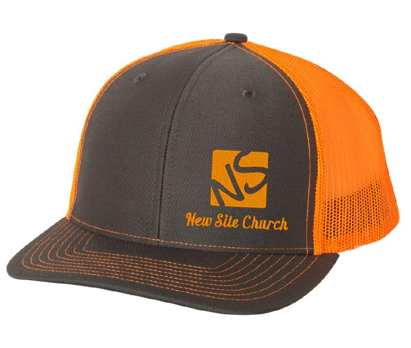 New Site Richardson charcoal-neon orange cap